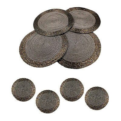 8pc Set of Grey Beaded Glass Round 10cm Coasters 30cm Placemats Non-Slip Mats