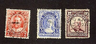 3x Newfoundland stamps No.105-2c #108-5c #113-12c all used VF Cat.Value = $50.00