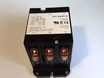 RELAY AND CONTROL CORP. DPC-90A3P120 120VAC Definite Purpose Contactor 3P 90A