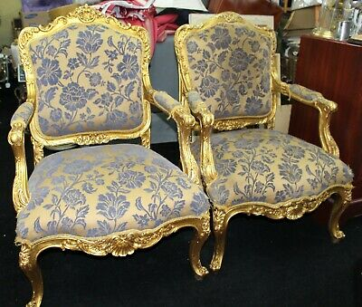 Pair of Gilt Louis XV Style Upholstered Fauteuil Armchairs