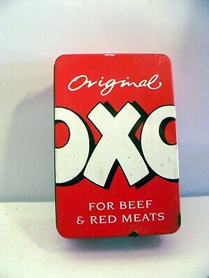 1990s Vintage Oxo Rectangular Red Empty Oxo Tin