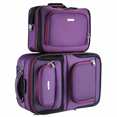 2PC Lightweight Carry On Luggage Set Tote Bag Expandable Suitcase Purple Rolling