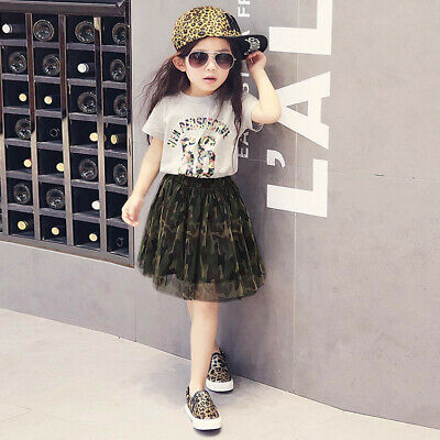Toddler Kids Baby Girls Outfits Clothes T-shirt+Camouflage Tulle Skirt 2PCS Set