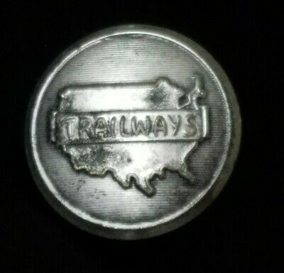 Vintage 1950s Silver Continental Trailways Bus Waterbury Coat Button