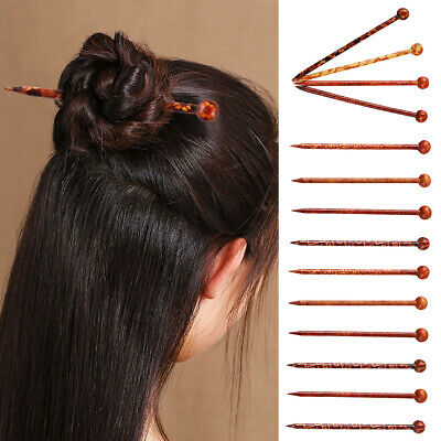 10pc Chinese Traditional Wooden Hairpin Classical Lady Hair Sticks Shawl Pin