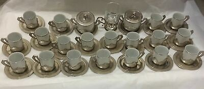 Vintage Silver Plated 19pcs Tea Cup and Saucer Set Plus 2 Sugar Jug Italy Made