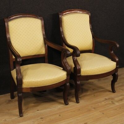 Armchairs couple pair furniture chairs french antique wooden fabric living room