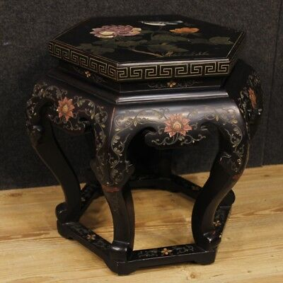 Small Table Chinoiserie Furniture Wood Lacquered Painting Living Room Antique