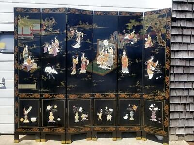 Antique Chinese Black Lacquer Inlaid Screen