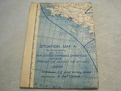 Original Map chart Normandy France WW2 1944 D-day US Army Air Defense Command