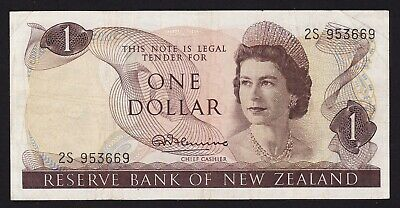 New Zealand 1 Dollar Banknote 1957-68 R N Fleming P-163a