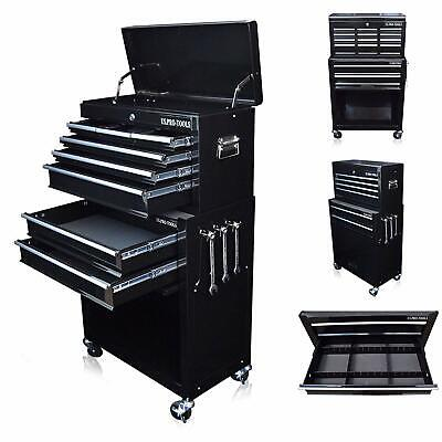 Large Tool Chest Box Roller Cabinet In Black Drawer Dividers Mechanics DIY