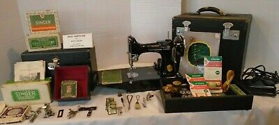 """Sale"" Vintage 1936 Featherweight 221 Sewing Machine W/Case & Accessories Case"