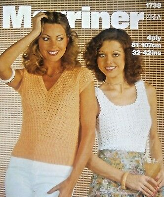 """Marriner Knitting Pattern 1738 - Two Ladies 4Ply Lacy Tops 32""""-42""""- Not a copy"""