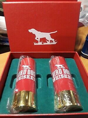 Two BIRD DOG WHISKEY 12 GAUGE SHOTGUN SHELL SHOT GLASSES in box Brand New Sealed
