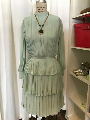 Vintage 1970s Christian Dior Couture Numbered Silk Pleated Dress Sea Green