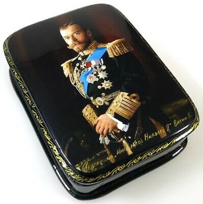 Imperator Nikolai II - Russische Lackdose Schatulle Russian lacquer box HER01