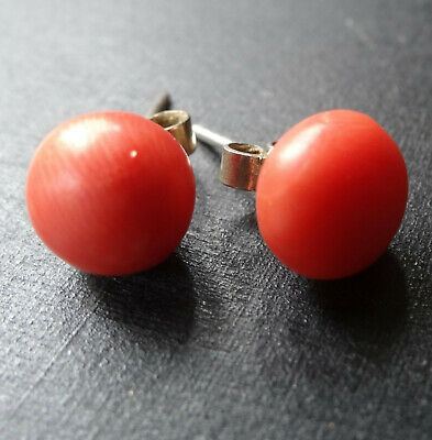 vintage art deco CORAL cabochon & SILVER  pierced earrings -A268
