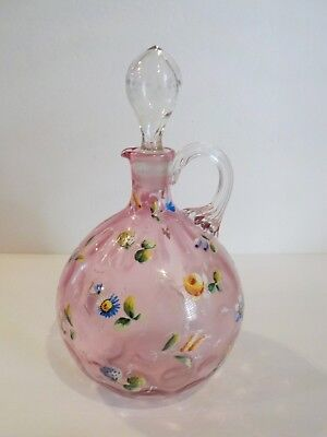 Enameled Cranberry Glass Carafe / Pitcher, c. 1900