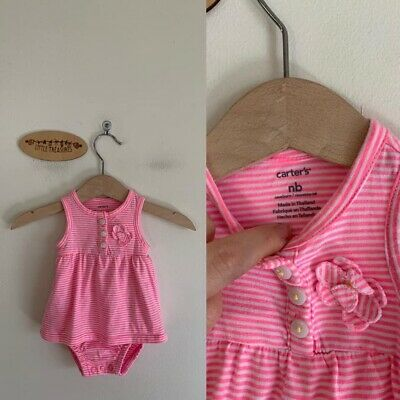 Sz 0000 Carters Pink & White Stripe Romper Dress
