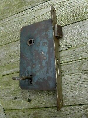 Antique XL oblique door lock with key working order, castle, church, barb, farm,
