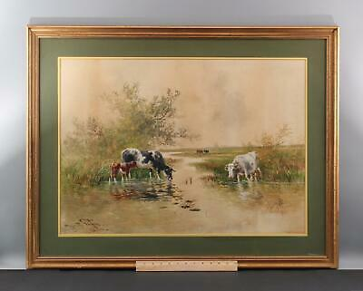 Antique HUGO FISCHER American Country Cow Bucolic Landscape Watercolor Painting
