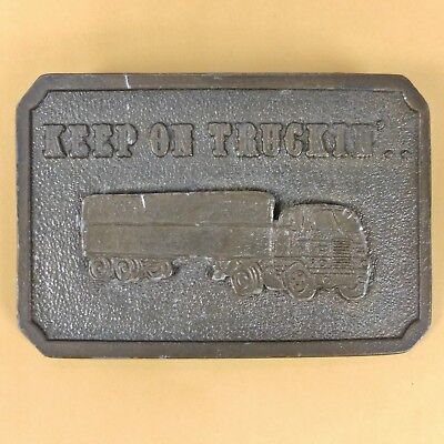 "Vintage KEEP ON TRUCKIN'.. Brass Belt Buckle 3.5"" by 2.5"" - Semi 18 Wheeler"