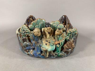 Nice Antique Chinese Shiwan Pottery Bowl, Planter, Raised Figures