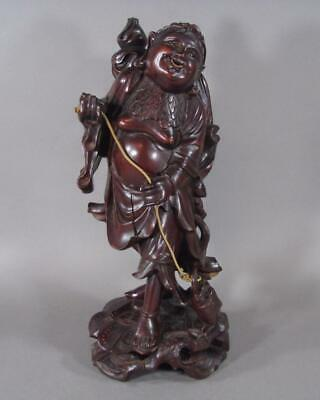Nice Lg Antique Chinese Carved Wooden Figure Of Liu Hai, 13 Inch