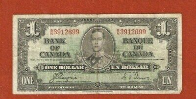 1937 Kiing George VI One Dollar Bank Note Well Circulated E394