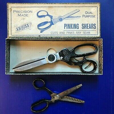 2 1950s vintage pinking shears Sweiss Shears in box zig zag sewing scissors SYD