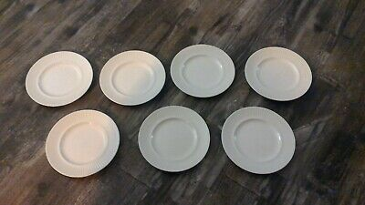 """Set 7 Johnson Brothers ATHENA White Ribbed Bread & Butter Plates 6 1/4"""" England"""