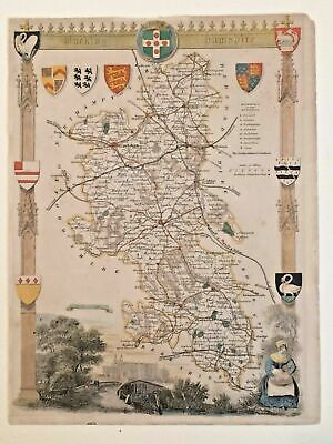 1836 Thomas Moule Original Antique Map Buckinghamshire England 1841 Hand colored