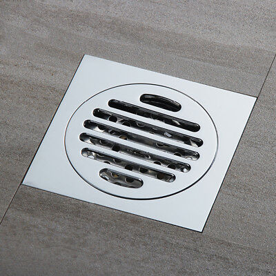 100mm Square Round Stainless Steel Tile Insert Floor Drain Shower Grate Waste