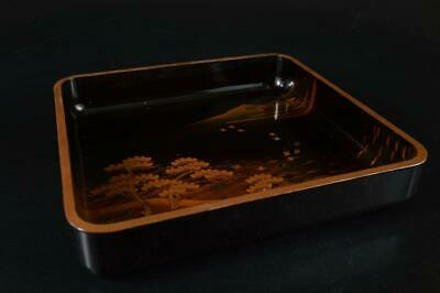 S4107: Japanese Old Lacquer ware WOODEN TRAY/Ornamental plate Tea Ceremony