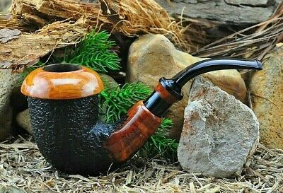 MOLINA Bent Calabash Briar Estate Pipe With Rusticated & Smooth Polished Finish