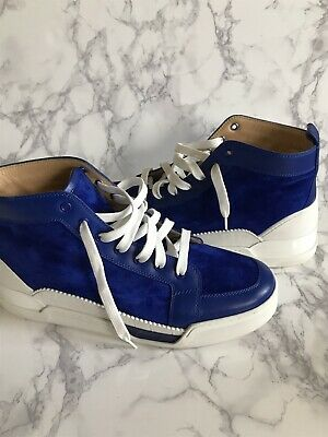 81bafc21899 CHRISTIAN LOUBOUTIN BLUE Suede White Mens Sneakers High Top 2019 Rare  Calfskin