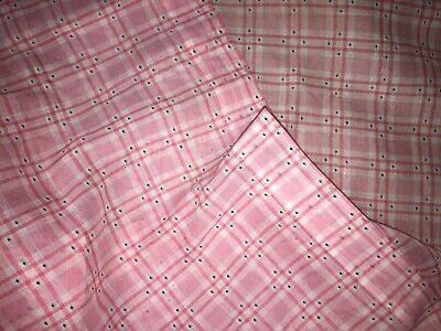 Vintage 1940s~6 CURTAIN PANELS FABRIC~PINK SHEER PLAID BLACK DOTS~DOLL Clothes