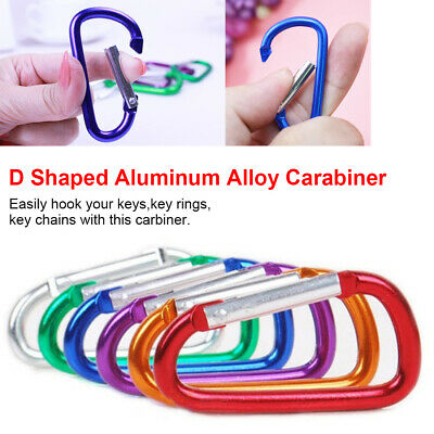 10X Aluminum Alloy Carabiner D-Ring Keychain Outdoor Camping Hiking Press Tools