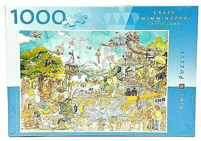 KING PUZZLE SEALED Crazy Swimming Pool Gerold Como 1000 Pc 1940 Jigsaw  Puzzles