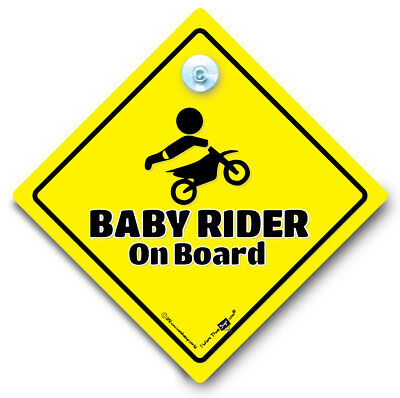 Baby Rider On Board Sign, Baby On Board Sign, Suction Cup Car Window Sign