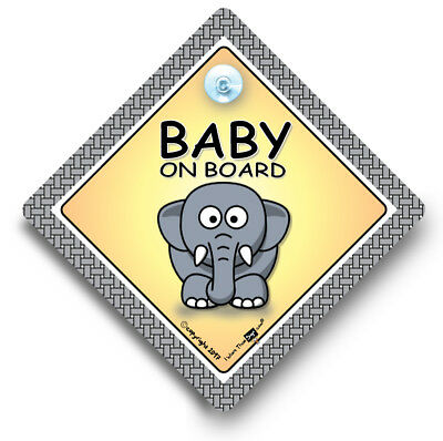 Baby On Board Car Sign, ELEPHANT, Baby On Board Sign, Suction Cup Sign