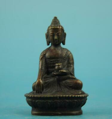 chinese old fengshui copper hand-carved Sakyamuni Buddha statue b01
