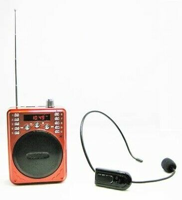 Portable Bluetooth Voice Amplifier Includes Wireless FM Headset & Wired Headset