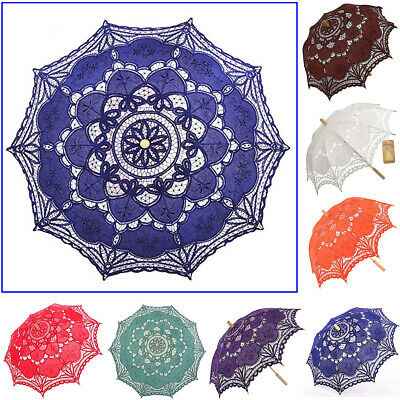 Handmade Wedding Umbrella Cotton Lace Parasol Vintage Embroidery Sun Battenburg