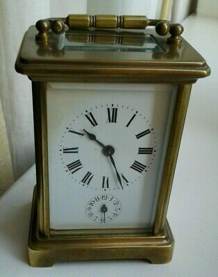 Victorian Antique Carriage Clock Alarm On Bell Brass Case ~ For Spares Or Repair