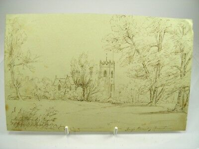 Antique 19th century English School pen & ink drawing Kings Bromley Church