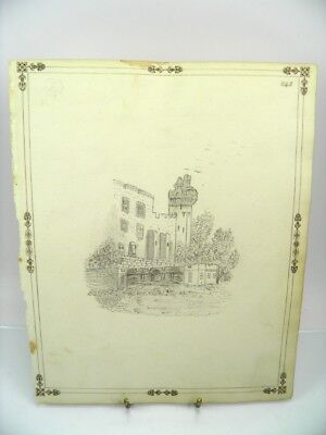 Antique 19th century English School pencil drawing architectural landscape view