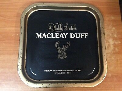 Vintage Macleay Duff A Noble Scotch Metal Drink Tray 34cm x 34cm
