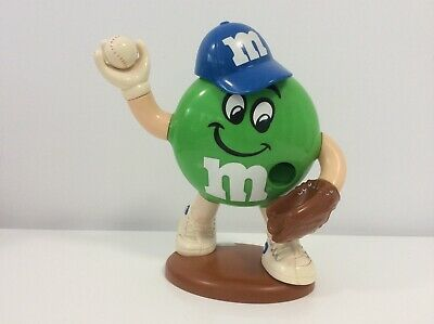 M&M's Green Baseball Player Dispenser - Very Good Condition